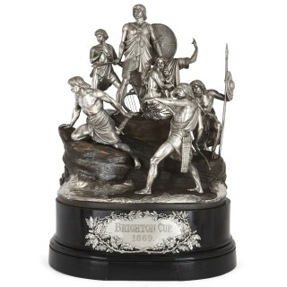 The Brighton Cup - Very large silver and bronze horse racing trophy by Monti
