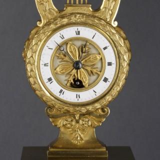Small French Ormolu Lyre Mantel Clock