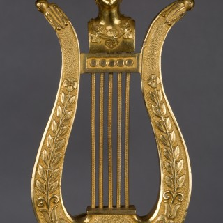 French Ormolu Lyre Mantel Clock
