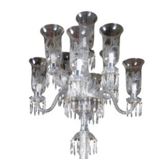 Pair of 19th Century Cut Glass Torcheres attributed to F & C Osler