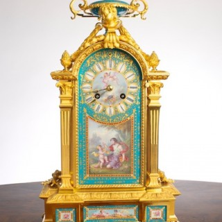 Victorian Ormolu and Porcelain Mantel Clock