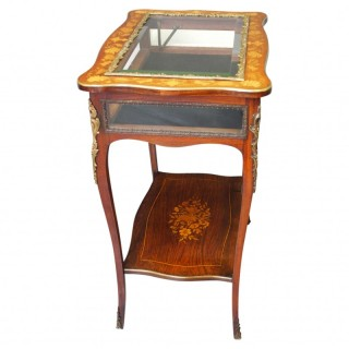 French Marquetry Vitrine Table