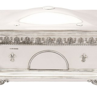 Large Sterling Silver Jewellery Casket - Antique Edward VIII