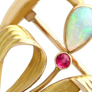 0.30ct Opal and Ruby, 15ct Yellow Gold Brooch - Art Nouveau - Antique Circa 1910