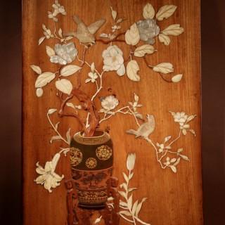 A Very Fine Japanese Shibayama Style Ikebana Hardwood Panel. Meiji Period 1868-1912