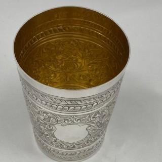 An Antique Victorian Sterling Silver Beaker 1887 J H Rawlings London