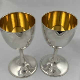 A pair of sterling silver goblets made in Thailand C1960 for the English or American market.