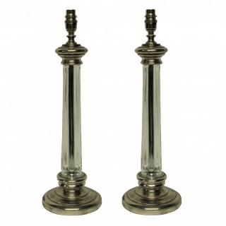 A PAIR OF CUT GLASS & SILVER COLUMN LAMPS