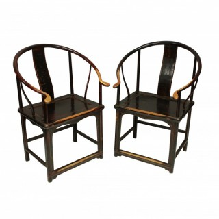 A PAIR OF XIX CENTURY CHINESE ARMCHAIRS