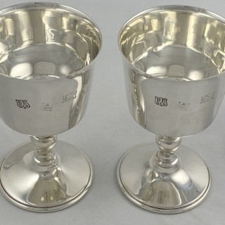 A pair of sterling silver goblets in the Charles I style made in 1970 by Barker Ellis of Birmingham