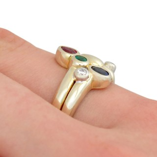 Sapphire and Ruby, Emerald and Diamond, 14ct Yellow Gold Dress Ring - Vintage Circa 1980