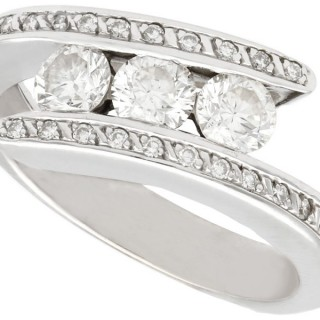 0.98ct Diamond and 18ct White Gold Twist Ring - Vintage French Circa 1960