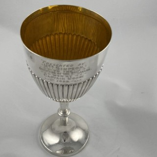 Antique Sterling Silver Goblet with military interest 1898 Alexander Clark of Sheffield