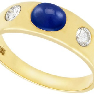 1.30ct Sapphire and 0.45ct Diamond, 14ct Yellow Gold Dress Ring - Vintage Circa 1980