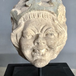 Stone head of a jester 15th Century