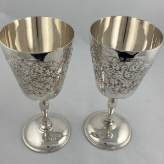 A pair of Hallmarked Sterling Silver Goblets made in 1971 by Charles S Green of Birmingham