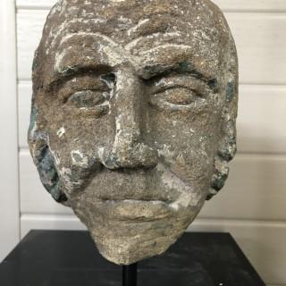 Stone head of a man circa 1600