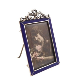 Antique Victorian Sterling Silver & Blue Enamel Photo Frame 1896