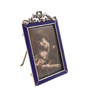 Antique Victorian Sterling Silver & Blue Enamel Photo Frame 1896