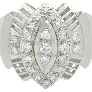 0.65 ct Diamond and 18 ct White Gold Dress Ring - Art Deco Style - Vintage Circa 1950