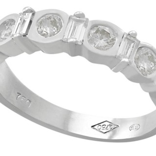 0.95 ct Diamond, 18 ct White Gold Half Eternity Ring - Vintage Circa 1990