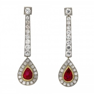 Edwardian Burmese ruby and diamond drop earrings, circa 1910.