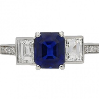 Art Deco sapphire and diamond three stone ring, English, circa 1935.
