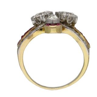 Edwardian diamond and ruby ring cluster ring, circa 1905.