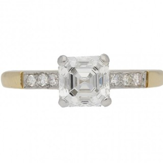 Vintage Asscher cut diamond ring, circa 1950.