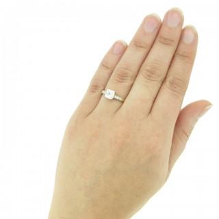 Vintage Asscher cut diamond ring, circa 1950.