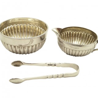 Antique Edwardian Sterling Silver Jug, Bowl & Tongs in Case 1904