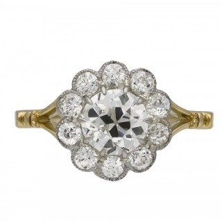 Edwardian diamond coronet cluster ring, English, circa 1910.