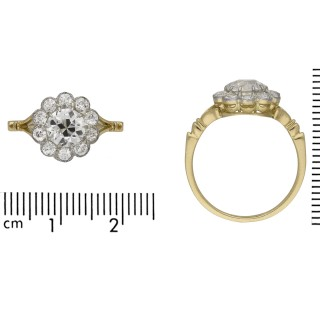 Edwardian diamond coronet cluster ring, English, circa 1910.