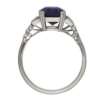Art Deco colour change Ceylon sapphire and diamond ring, circa 1925.