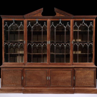 A George III Chippendale Mahogany Breakfront Bookcase