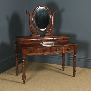 Antique Anglo-Indian Victorian Colonial Teak Dressing Table with Mirror (Circa 1870)