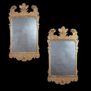 A Pair of George 1 Style Giltwood Mirrors