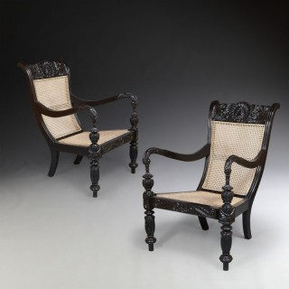 A Pair of 19th Century Ceylonese Library Chairs