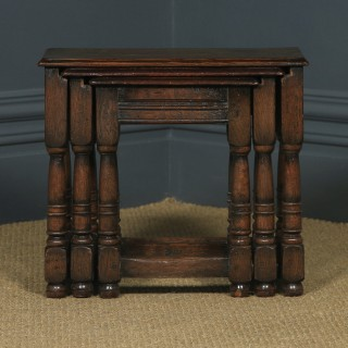 Vintage English 18th Century Style Nest of Three Solid Oak Side Tables (Circa 1930)