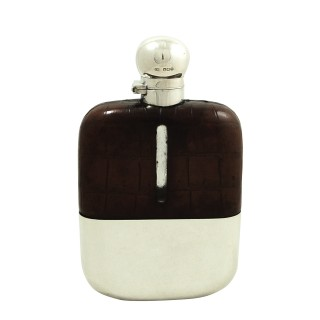 Antique Sterling Silver & Crocodile Leather 1/2 Pint Hip Flask 1927