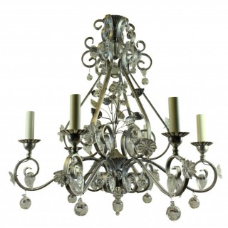 A MID CENTURY BAGUES STYLE CHANDELIER