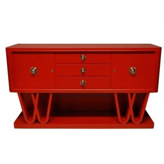 A STUNNING ITALIAN CREDENZA IN SCARLET LACQUER