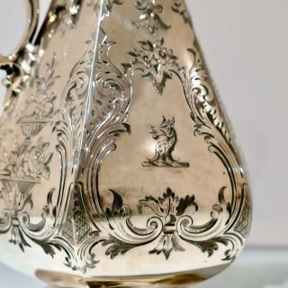 19th Century Antique Victorian Sterling Silver Wine Jug London 1852 Thomas, James & Nathaniel Creswick
