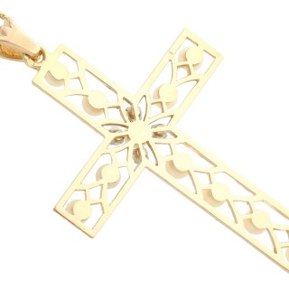 Seed Pearl and 0.20ct Diamond, 18ct Yellow Gold Cross Pendant - Antique French Circa 1910