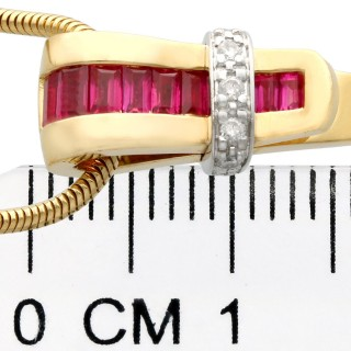 0.10ct Diamond and Synthetic Ruby, 18ct Yellow Gold Pendant - Guy Laroche - Vintage French Circa 1950