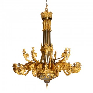 Palatial Napoleon III Gilt Bronze and Glass Chandelier