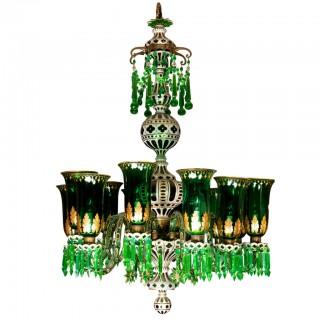 Enameled Overlay 12 -Light Emerald Green Chandelier by F. & C Osler