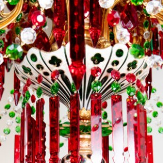 19th Century Ruby, White Over Green Crystal and Gilt Bronze Chandelier by F C Osler