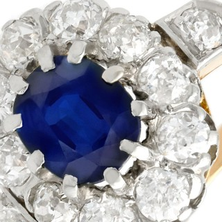 1.18 ct Sapphire and 0.95 ct Diamond, 18 ct Yellow Gold Cluster Ring - Antique Circa 1910
