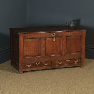 Antique English Georgian Panelled Oak Mule Chest / Blanket Box / Trunk with Drawers (Circa 1760)